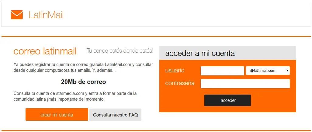 página principal de LatinMail