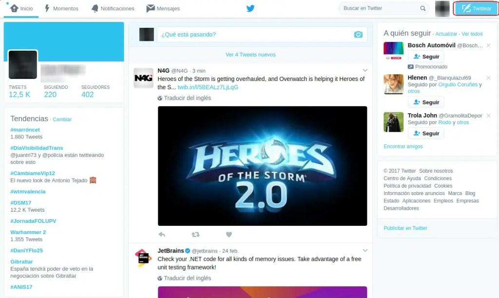 pantalla de inicio de Twitter