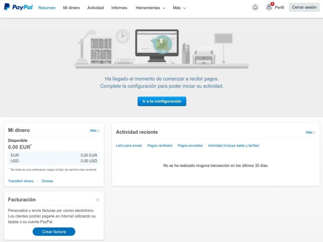 pantalla principal cuenta PayPal