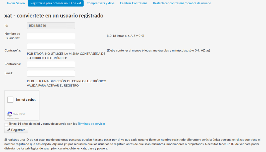 registrar usuario de xat