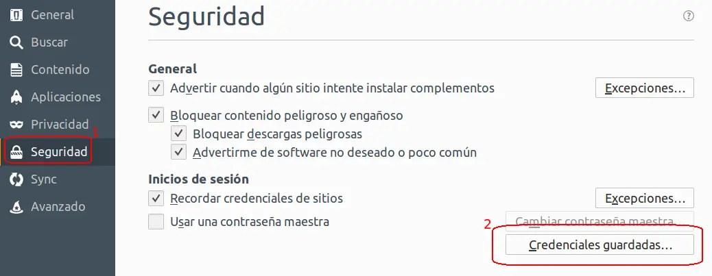seguridad y credenciales guardadas en Firefox