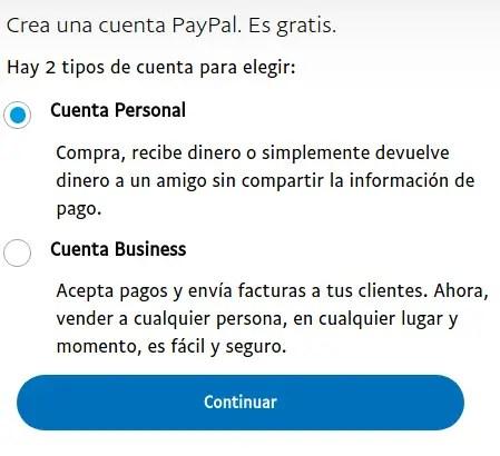 tipo de cuenta PayPal