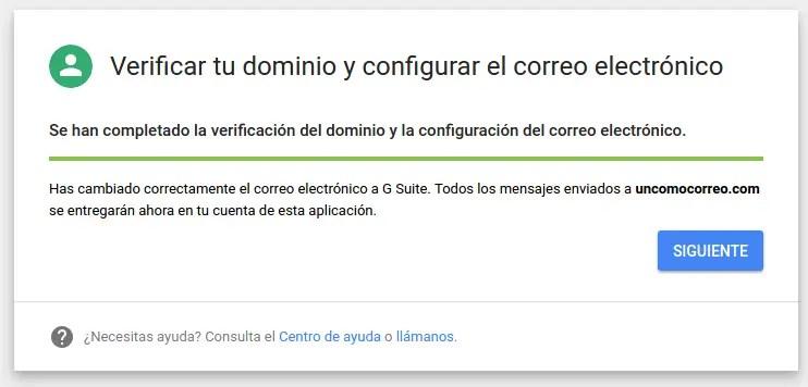 verificar tu dominio y configuración de correo electrónico G Suite