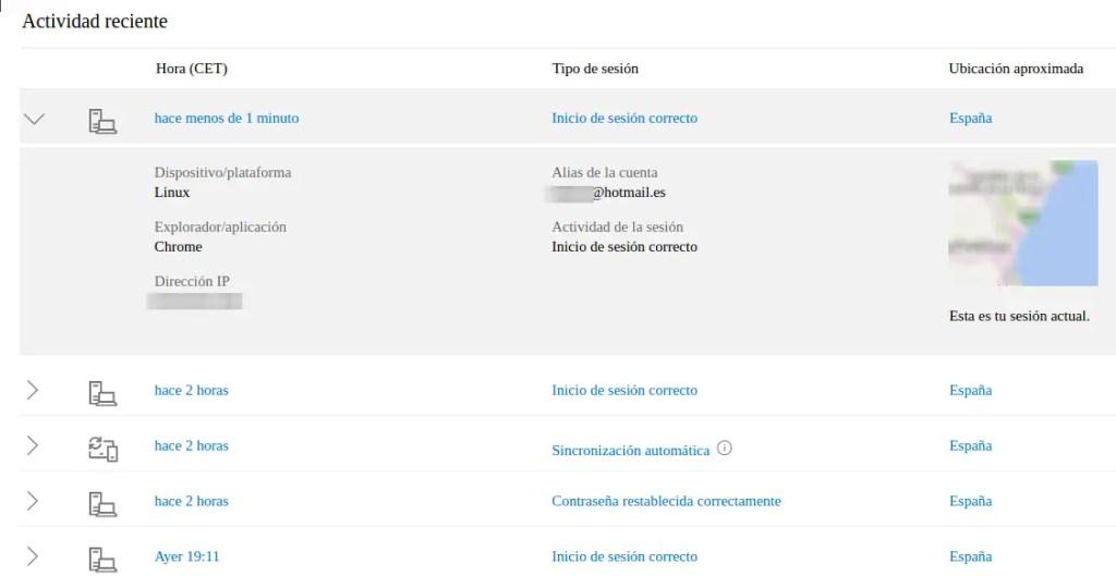 actividad de cuenta Hotmail