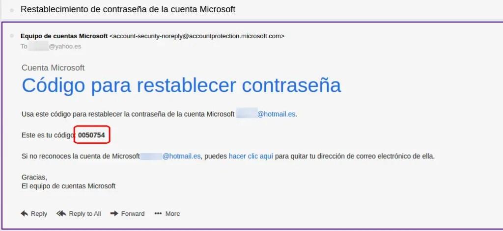 código de restablecimiento de cuenta de Microsoft