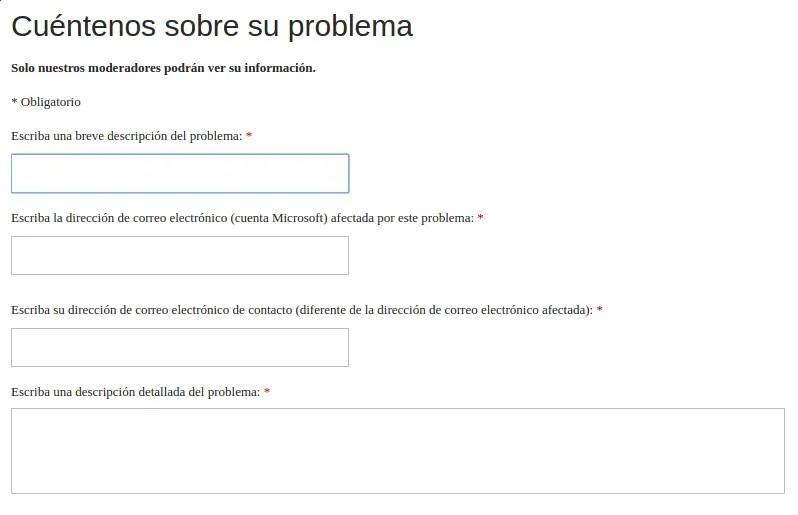 formulario de contacto de Microsoft