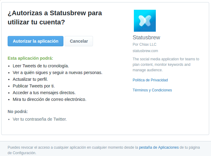 permisos de statusbrew
