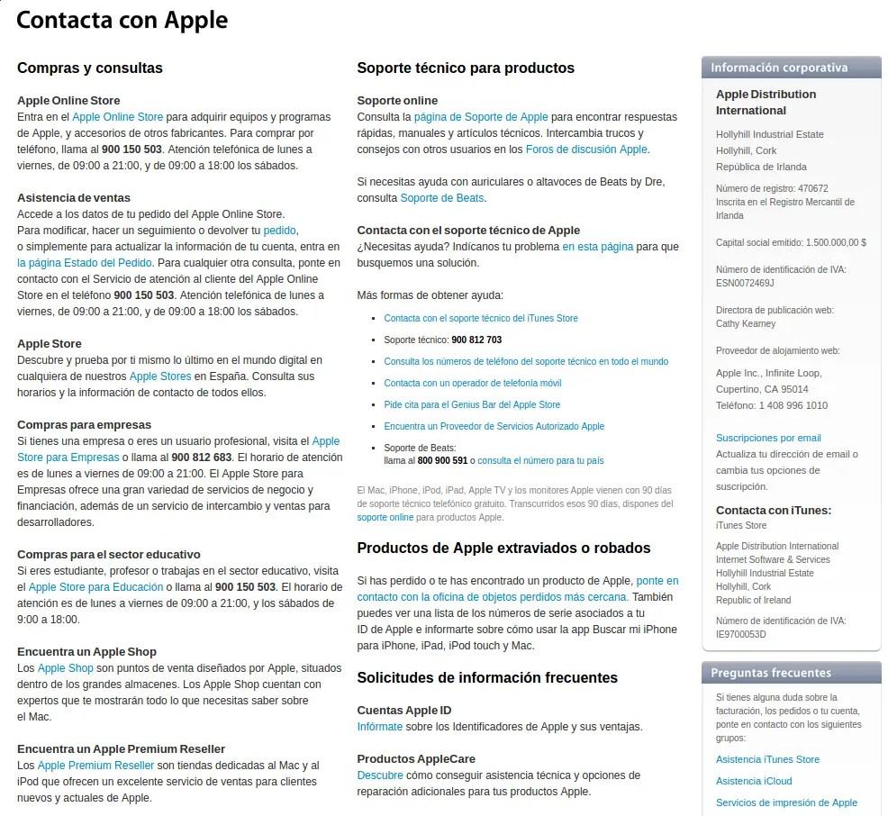 contactar con Apple