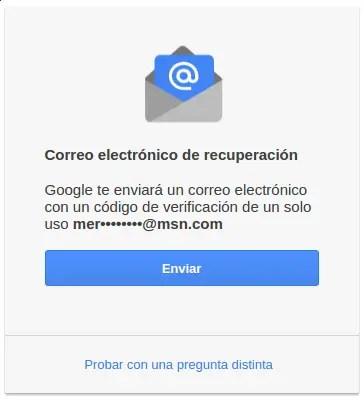 correo electrónico de recuperación de Gmail