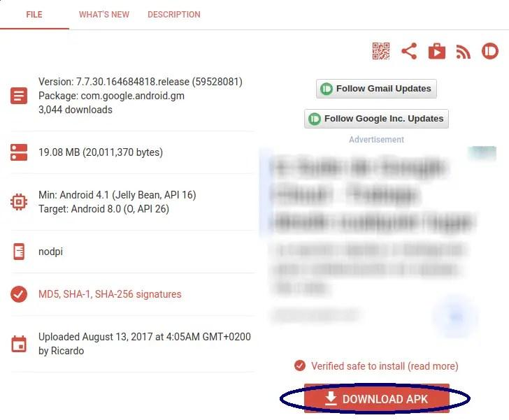 descargar APK Gmail