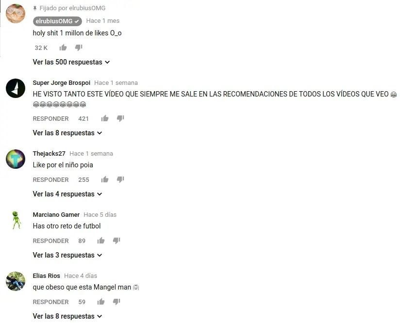 comentarios del canal elrubiusOMG