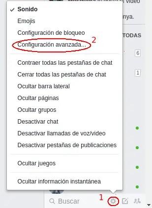 ajustes del chat de Facebook