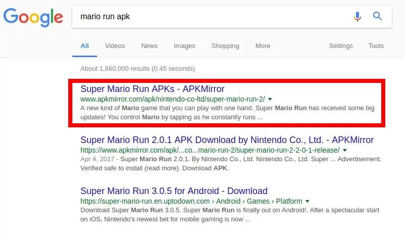 búsqueda Mario Run APK
