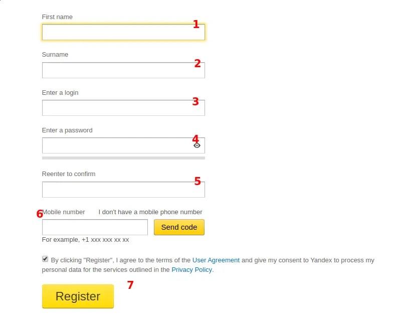 registrarse en yandex