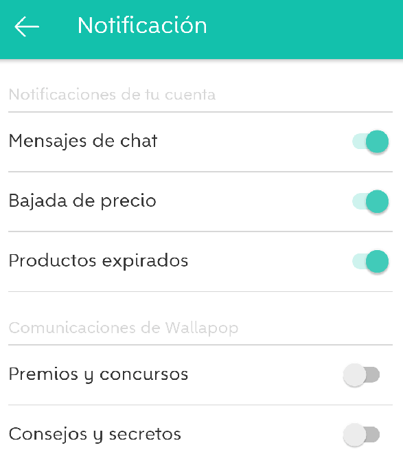 notificaciones de Wallapop