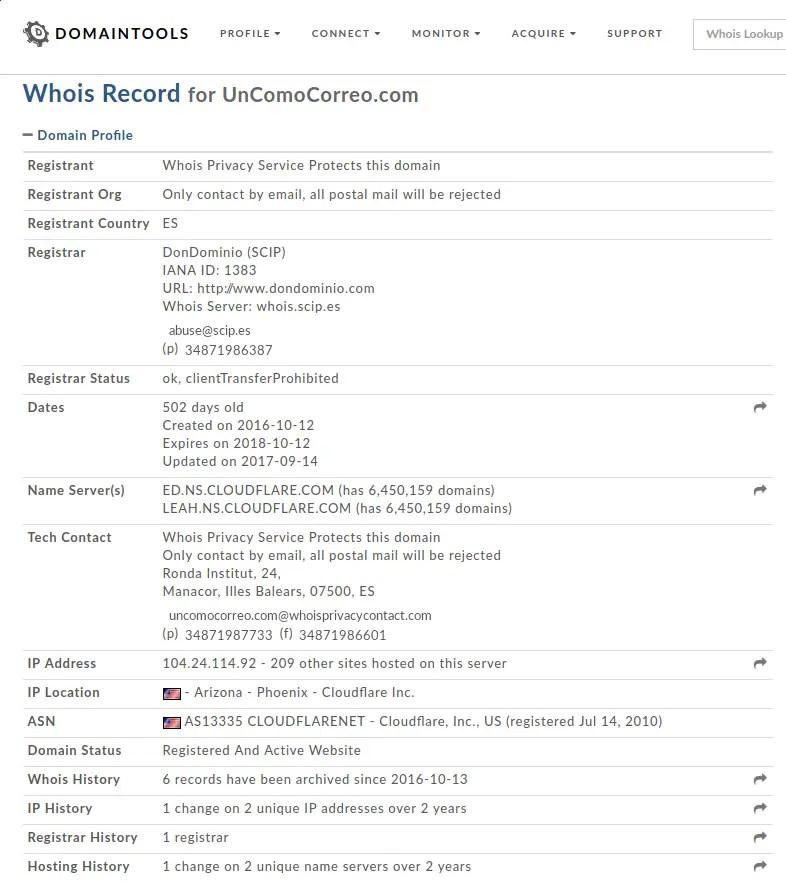whois domaintools para unComoCorreo.com