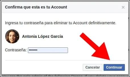 confirmar eliminación cuenta facebook
