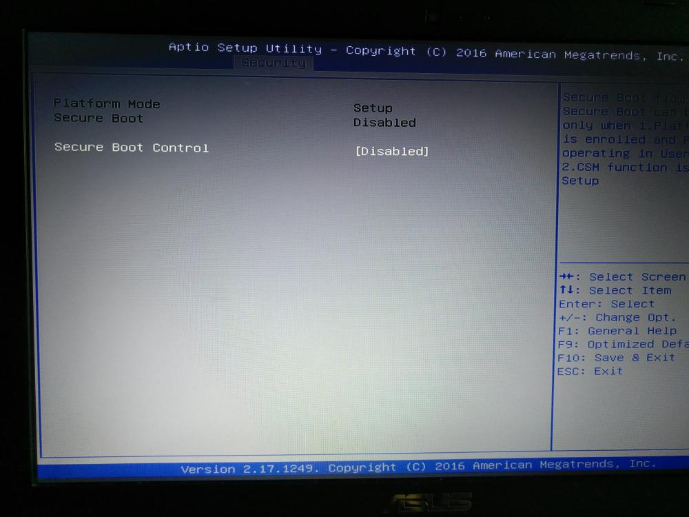 desactivar secure boot en la bios