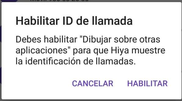 permiso para dibujar ID de llamada