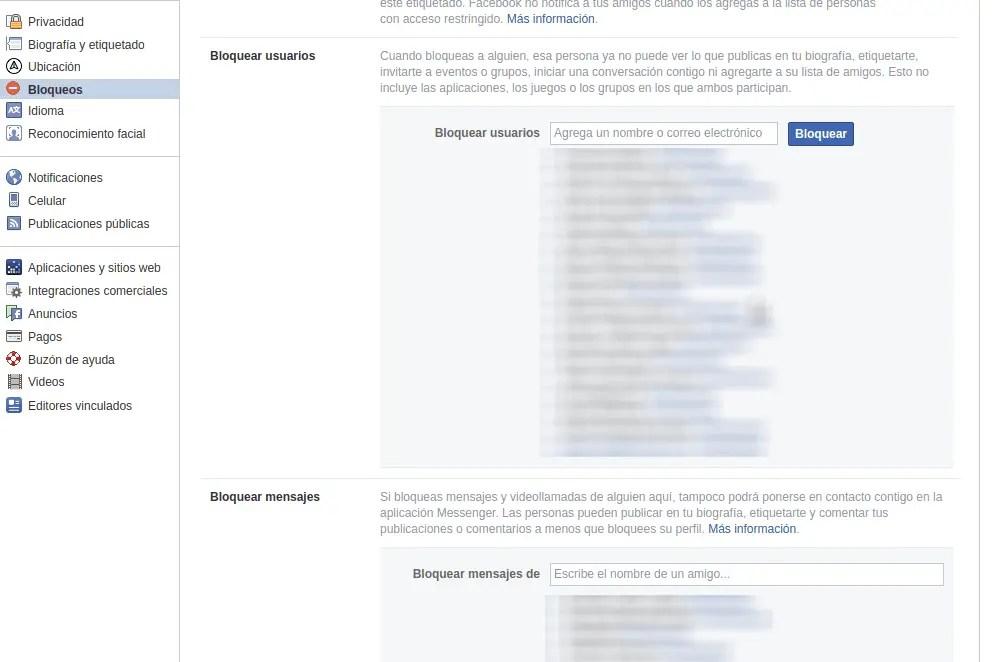 bloquear en Facebook