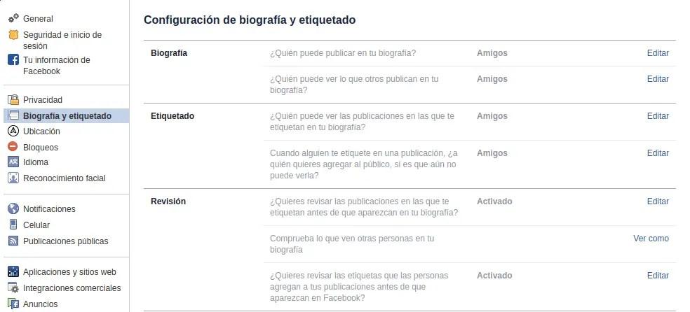 Opciones de privacidad de publicación en Facebook
