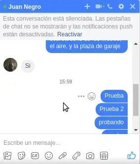 conversación silenciada en un chat de Facebook