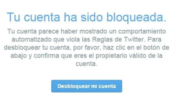cuenta bloqueada Twitter