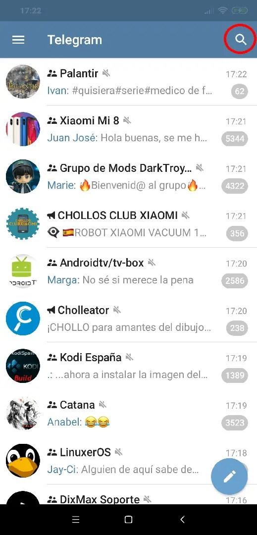 búsqueda en Telegram