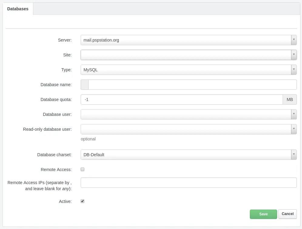 configuracion de base de datos