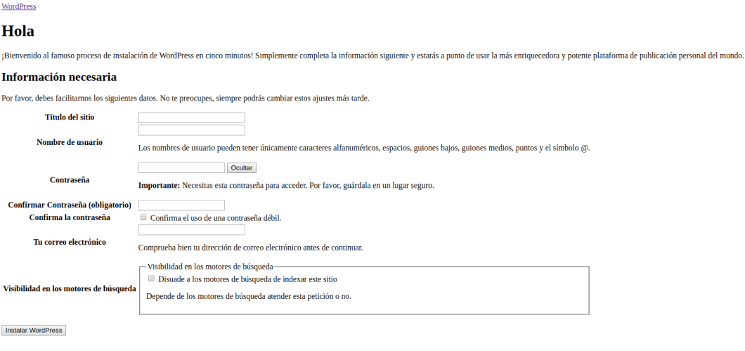datos sitio web de WordPress