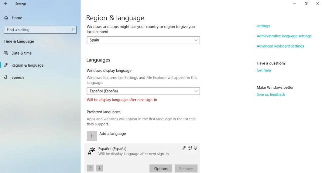 cambiar el idioma del teclado en Windows 10
