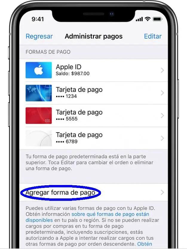 agregar forma de pago para Apple