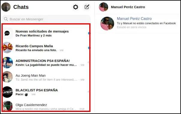 Chats a pantalla completa en Facebook