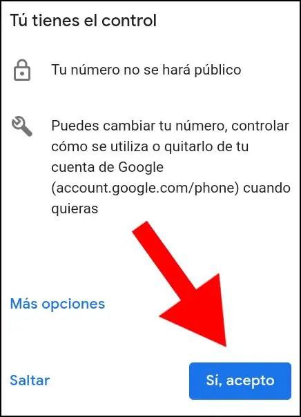 aceptar número de teléfono en cuenta de Google