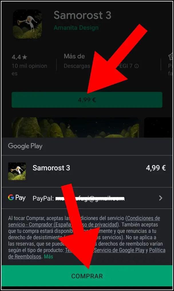 comprar juego en Play Store