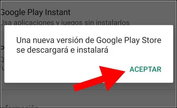 nueva versión de Play Store