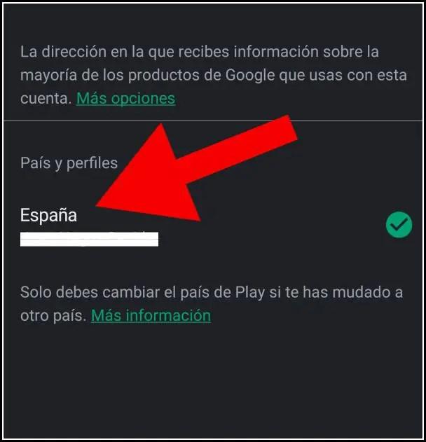 país y perfiles en Play Store
