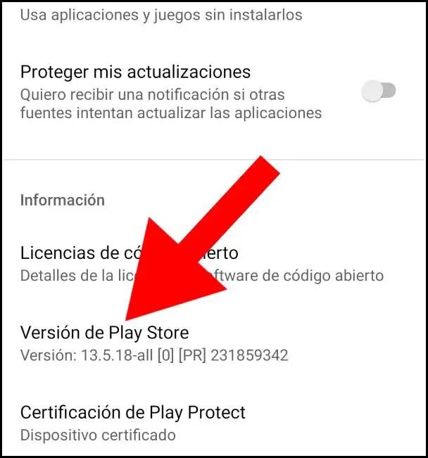 versión de Play Store