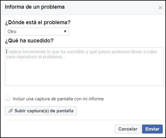 Enviar problema Facebook