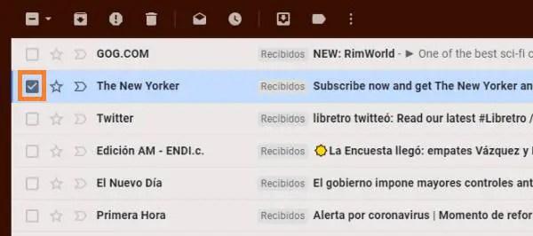 seleccionar el correo Gmail que quieres eliminar