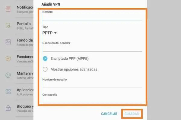 configuración VPN en Android