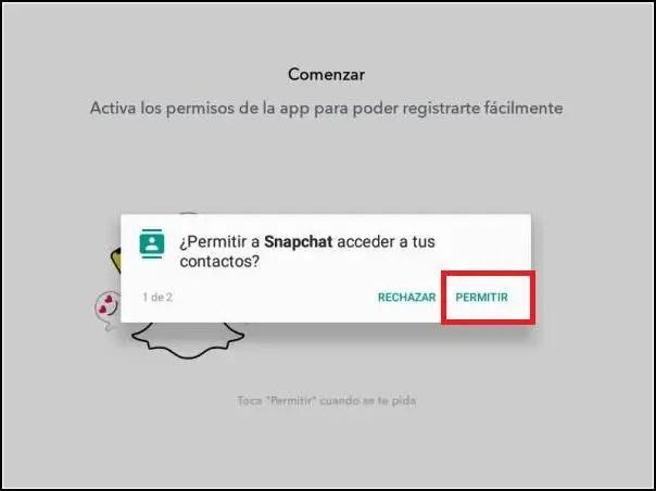 permitir acceso de Snapchat a los contactos