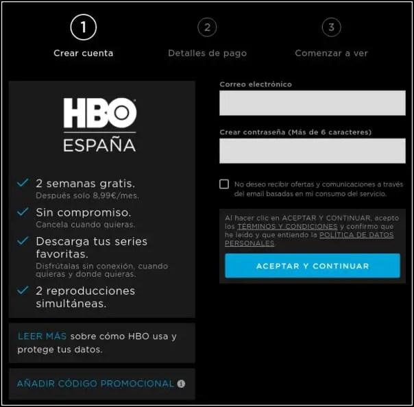 crear cuenta HBO