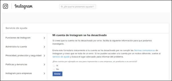 cuenta instagram desactivada