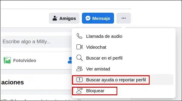 reportar y bloquear perfil en Facebook