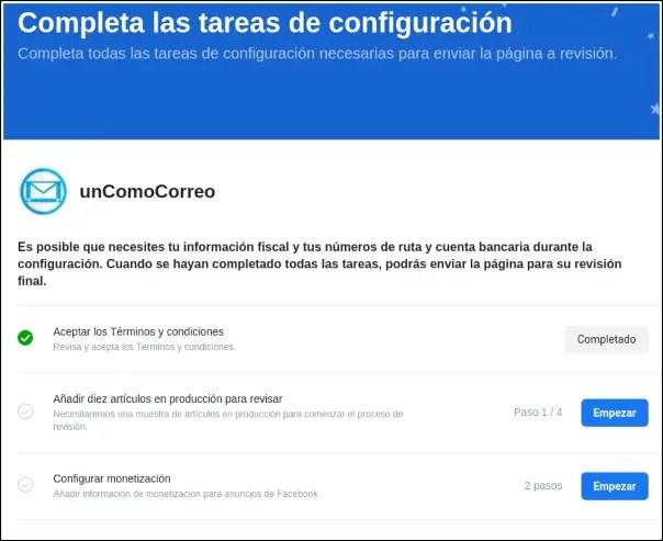 completar tareas de configuración de Facebook