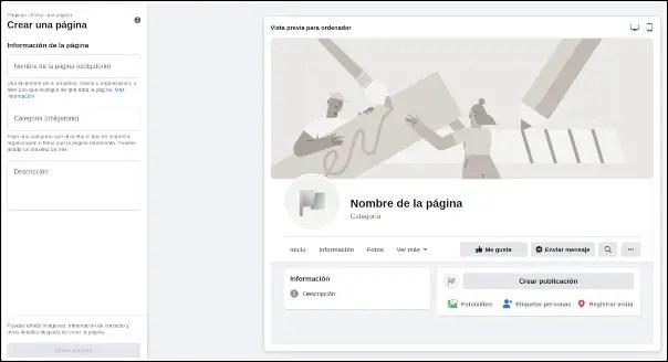 crear página de Facebook
