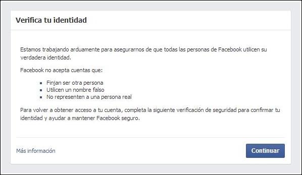 verificar tu identidad Facebook