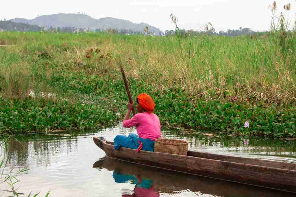 As she goes rowing to find fish for the afternoon meal