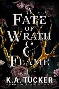 A Fate of Wrath & Flame cover - (un)Conventional Bookworms - Weekend Wrap-up : Black background on the over, with a golden rose bush that has light pink roses on it. It appears as if the moon is illuminating the rosetree. The tile of the book and the author's name is in white centered on the cover above the rosetree.